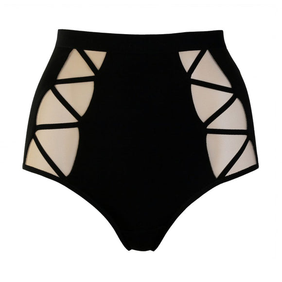 High Waist Black Jersey Panties with Beige Mesh and Geometric Straps