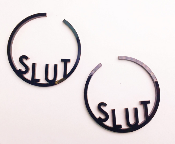 SLUT Acrylic Hoop Earrings