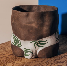 Painted Body Pots- Dark Tone Bottom with Leaves Print