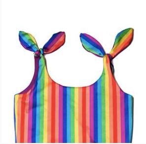 Handmade Rainbow Low-Back Reversible Swimsuit/ Bodysuit