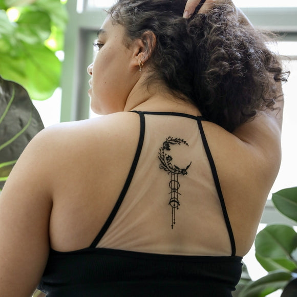 Crescent Moon Black Tattoo Mesh Racerback Bralette- Extended Sizes