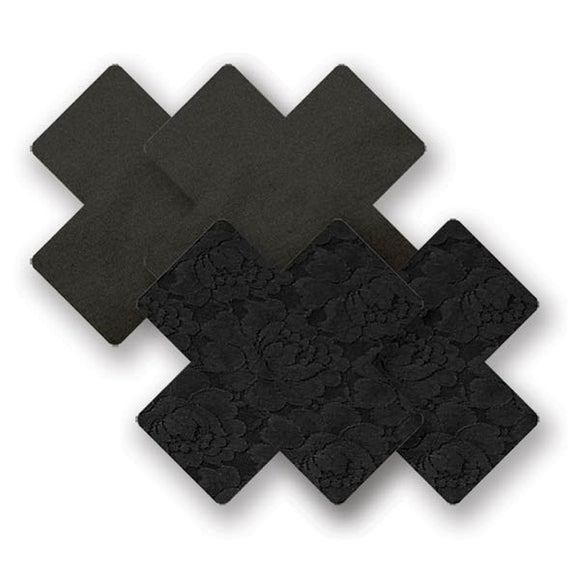 Nippies Basics Black Cross Pasties (2 Pair)