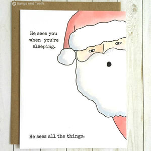 'Santa Sees You' Holiday Card