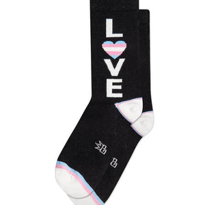 'Love' Trans Rainbow Dress Crew Socks