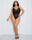 Black Lace Extended Size Teddy with Sheer Maxi Skirt