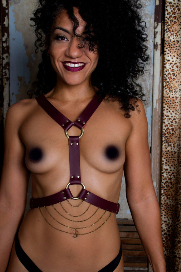 Persephone Leather Chest Harness