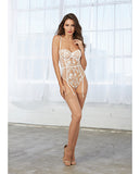 Sheer Stretch Mesh Teddy with Embroidery