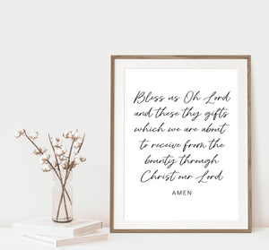 Bless Us Oh Lord Meal Prayer Printable Art