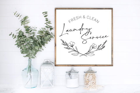 Fresh & Clean Laundry Service Wood Sign