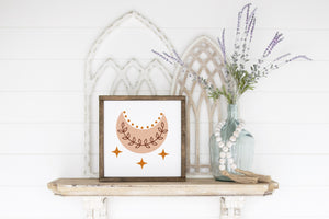 Moon and Stars Wood Sign -  Modern Boho Farmhouse