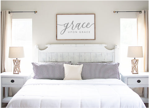 "Grace upon Grace - 36""x24"" Wood Sign"