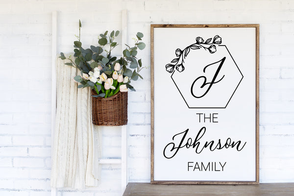 Hexagon Family Name Wood Sign