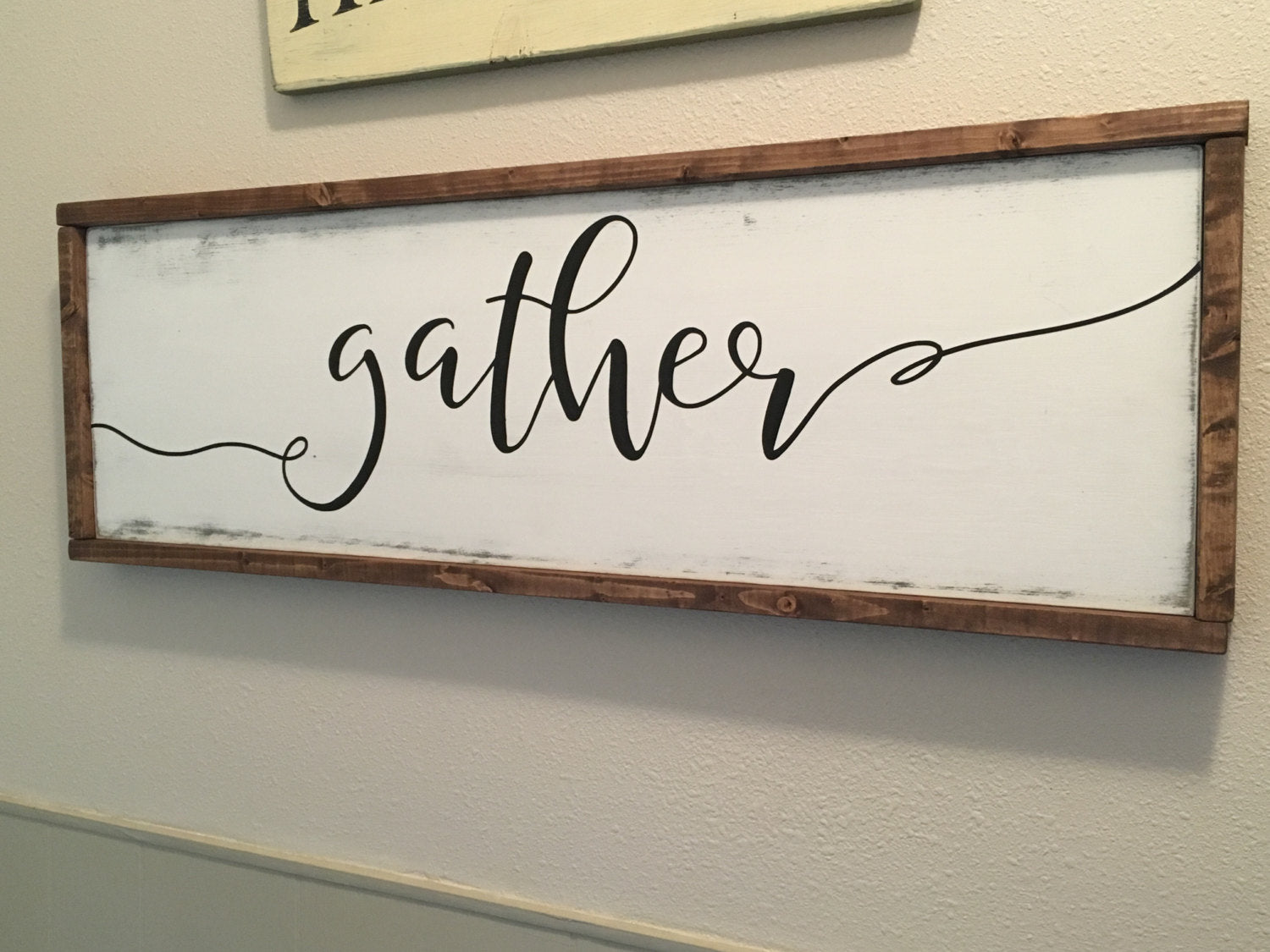 Gather Wood sign Farmhouse Decor Home Decor Rustic Decor Neutral Black/White Wooden Sign