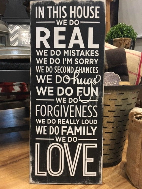 In this House We Do Wood Sign - Family Room - Gallery Wall - House Rules - Wooden Sign - Farmhouse - Rustic - Home Decor - Wedding Gift