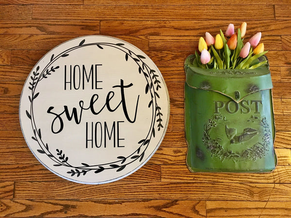 Home Sweet Home Round Wood sign - Farmhouse Decor - Rustic Decor - Home Decor