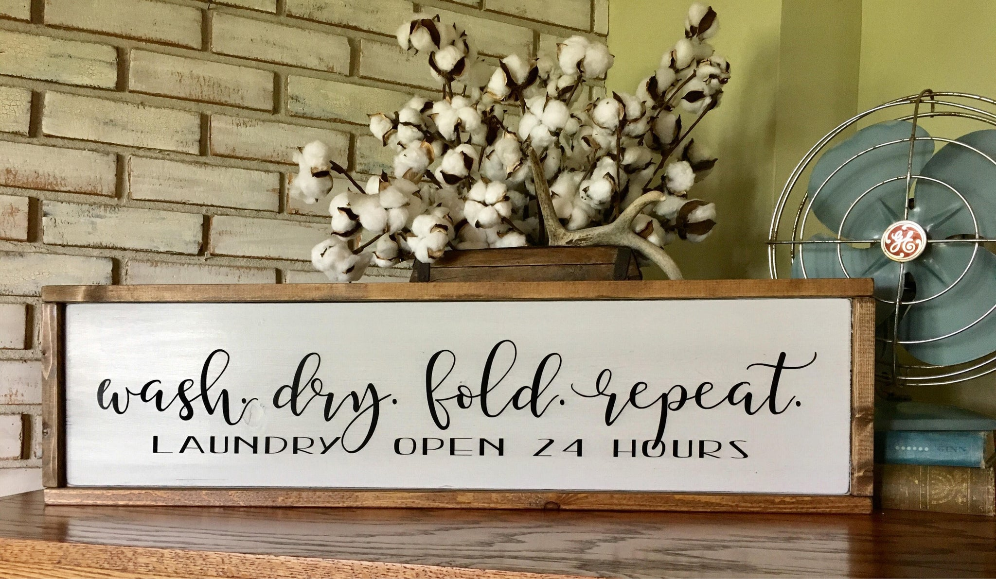 Laundry Room Wood Sign - Wash Dry Fold Repeat - Farmhouse - Fixer Upper - Home Decor
