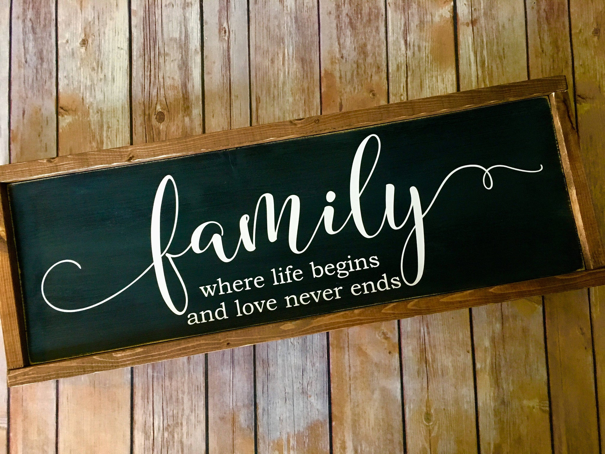 Family Wood Sign - Farmhouse style - Rustic Decor - Framed wood sign - Family Room - Wedding Gift