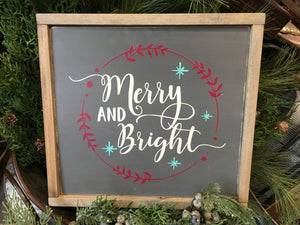 Merry and Bright Wreath Wood Sign
