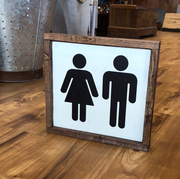 Bathroom Boy and Girl Wood Sign - Restroom - Modern Decor - Farmhouse Style