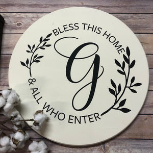 Bless this Home Personalized Wood Sign - Wreath Monogram - Monogram Sign - Home Decor - Wedding - Housewarming - Round Sign