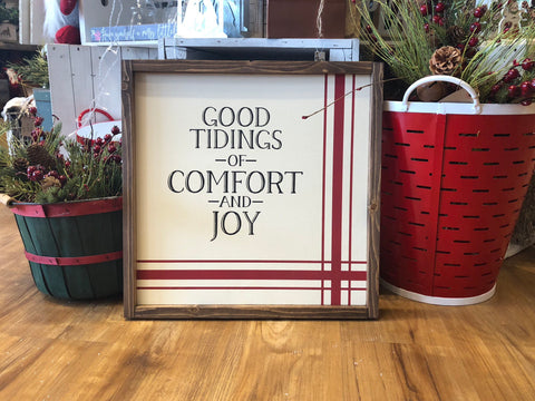 "Christmas Plaid Wood Sign | Good Tidings of Comfort and Joy | Red and White Grainsack | 22""x22"""