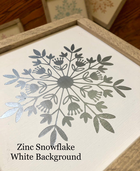 "Snowflake Wood Sign Accents | Danish Snowflake | Hygge | 9"" x 9"" 