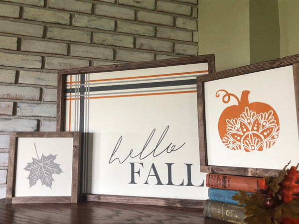 "Hello Fall 18""x22"" Wood Sign - Autumn Decor - Fall Sign - Autumn Sign - Home Decor - Farmhouse - Wooden Sign - Plaid - Cozy - Comfort"