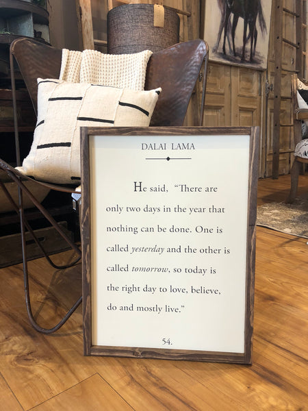 "Dalai Lama Quote - Wood Sign - 18""x24"" - Home Decor - Book Page - Inspirational Quote"