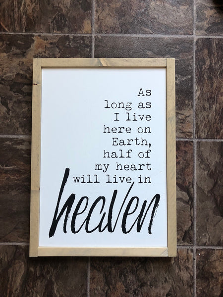 My Heart is in Heaven Wood Sign - Home Decor