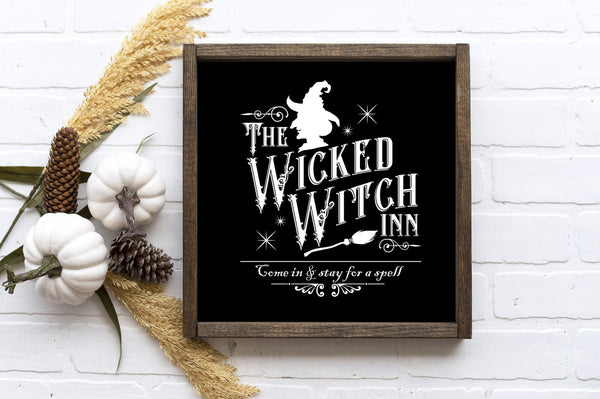 "Wicked Witch Inn - Halloween Décor - 13""x13"" - MORE COLOR & SIZES - Wood Sign - Fall Décor - Autumn"