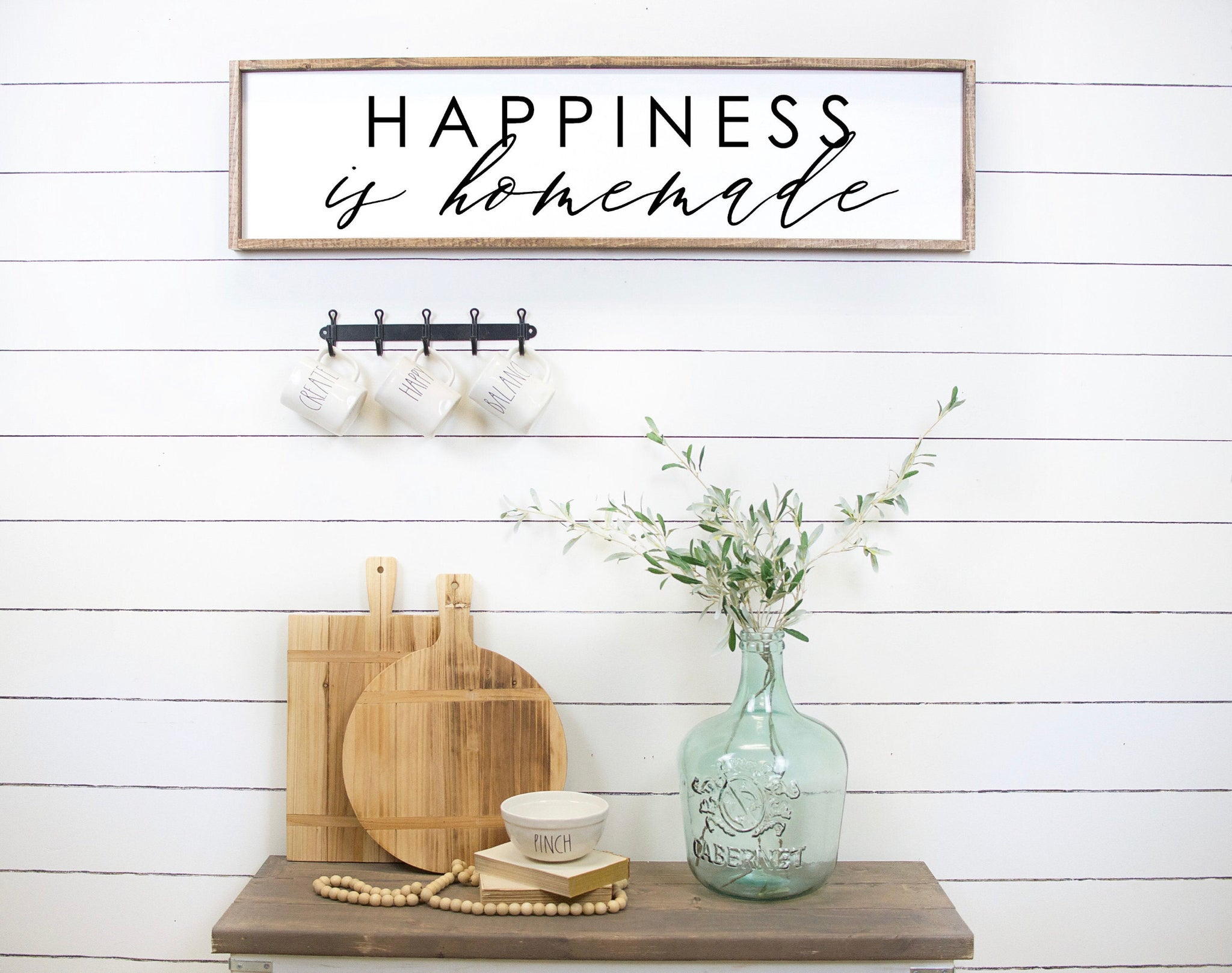 "Happiness is Homemade Wood Sign - 30""x9"""