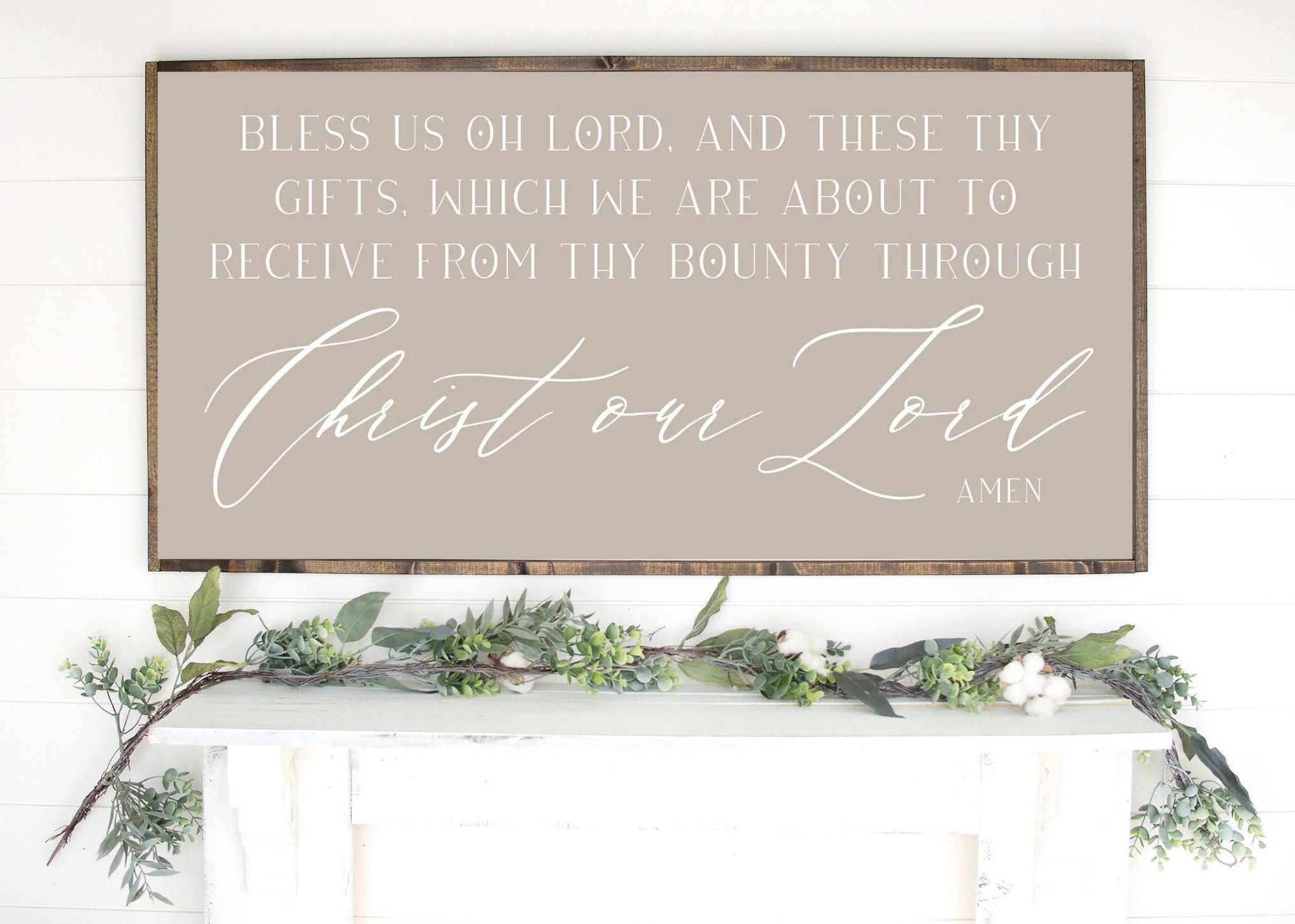 "Bless us Oh Lord Wood Sign - 48""x24"""