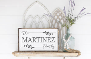 "Personalized Family Sign - 24""x13"""