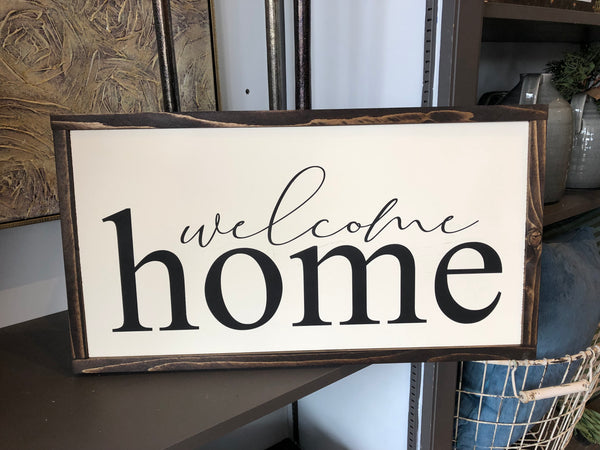 Welcome Home Wood Sign - 13x24""