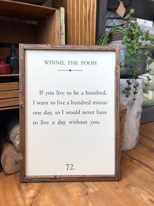 Winnie the Pooh Book Page Wood Sign