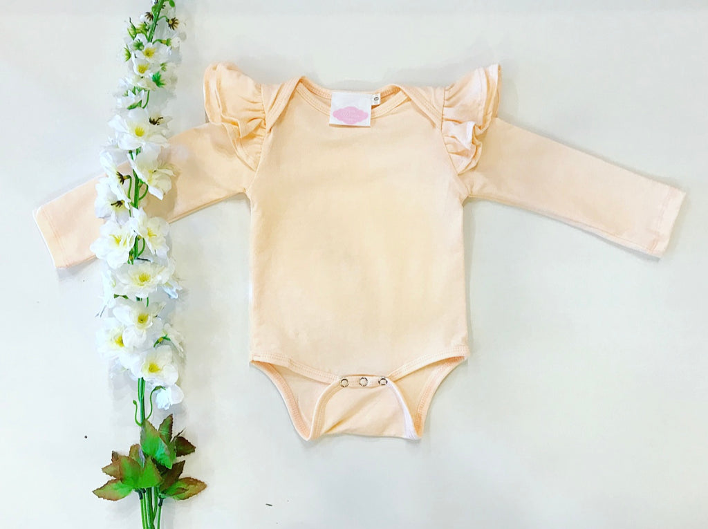 Long Sleeve Flutter Romper - Peach
