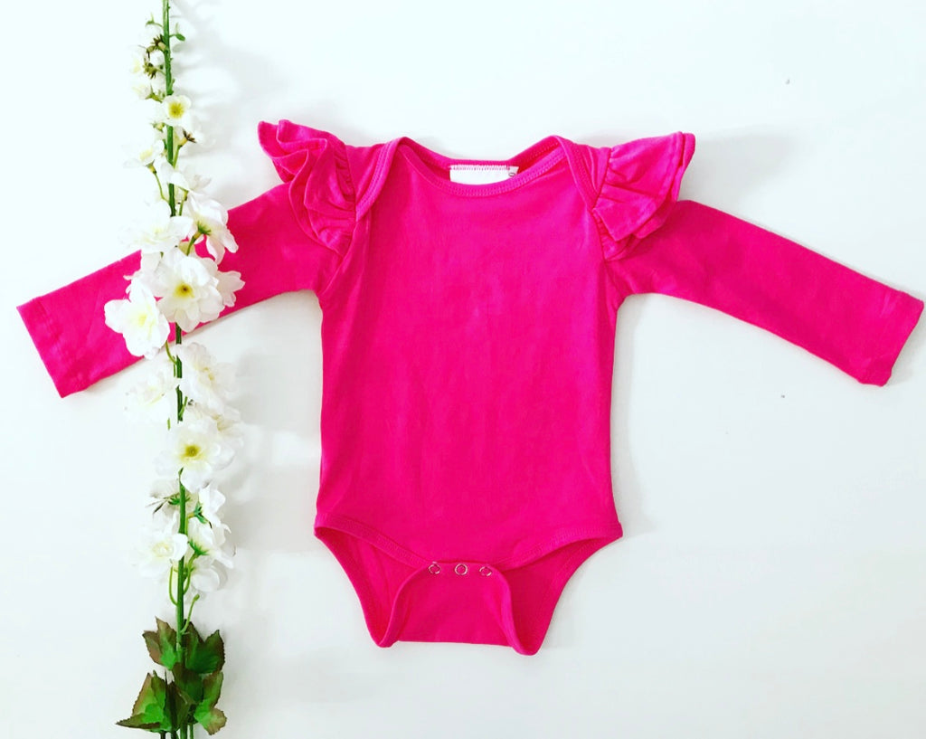 Long Sleeve Flutter Romper - Hot Pink