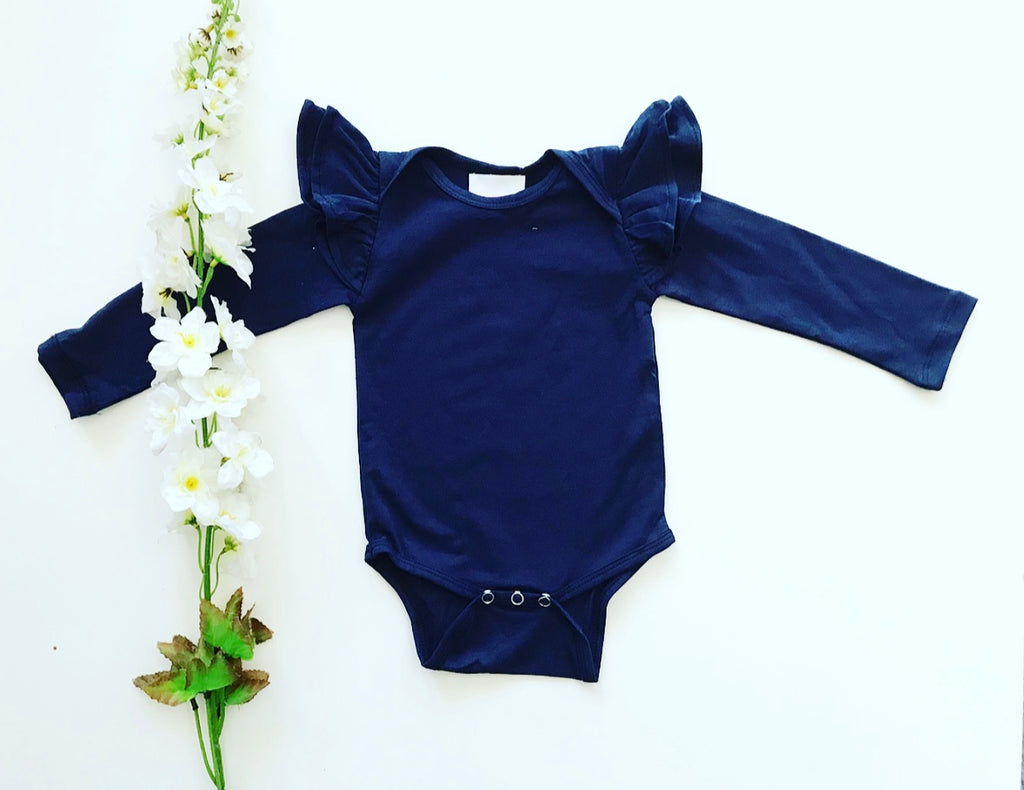 Long Sleeve Flutter Romper - Navy