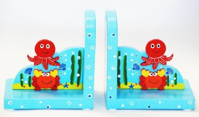 Wooden Book Ends - Sealife