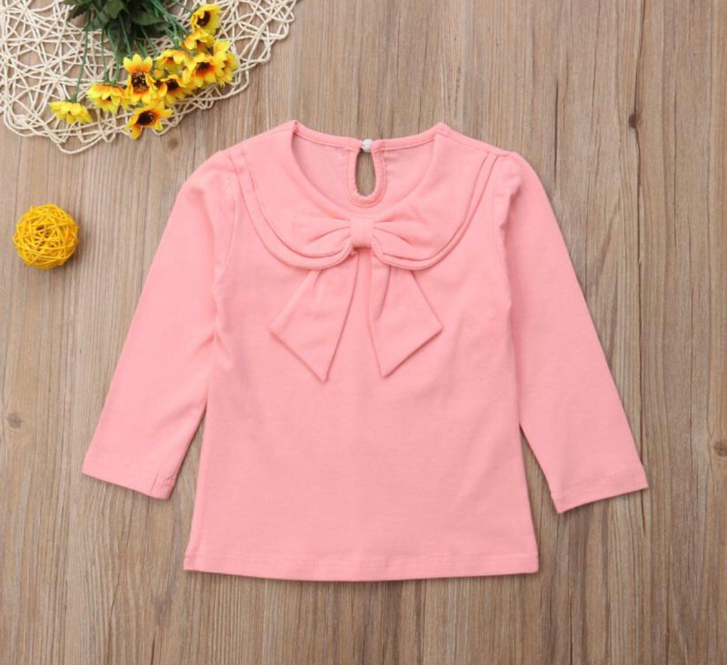 Long Sleeve Bow Top - Light Pink