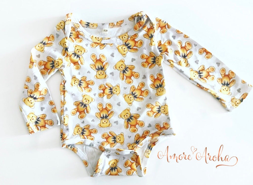 Long Sleeve Romper - Bears