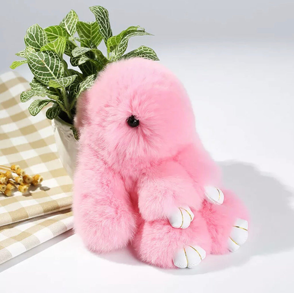 Fluffy Bunny Key Ring - Light Pink