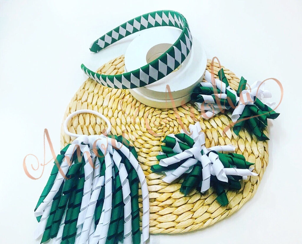 School Hair Set - Green & White