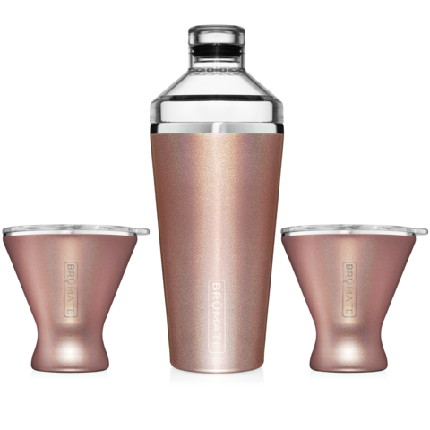 COCKTAIL SHAKER + 2 MARGTINI 10OZ TUMBLERS/LIDS | ROSE GOLD