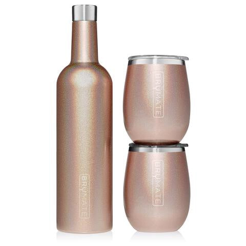 WINESULATOR + 2 UNCORK'D XL WINE TUMBLERS/LIDS | GLITTER ROSE GOLD