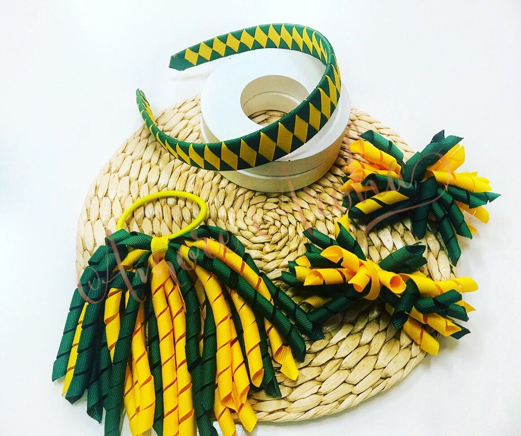 School Hair Set - Green & Gold