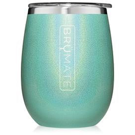 UNCORK'D XL 14oz Wine Glass by BrüMate | Glitter Aqua Blue