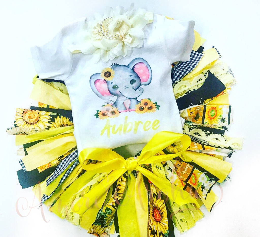 Elephant Sunflower Shabby Tutu Set
