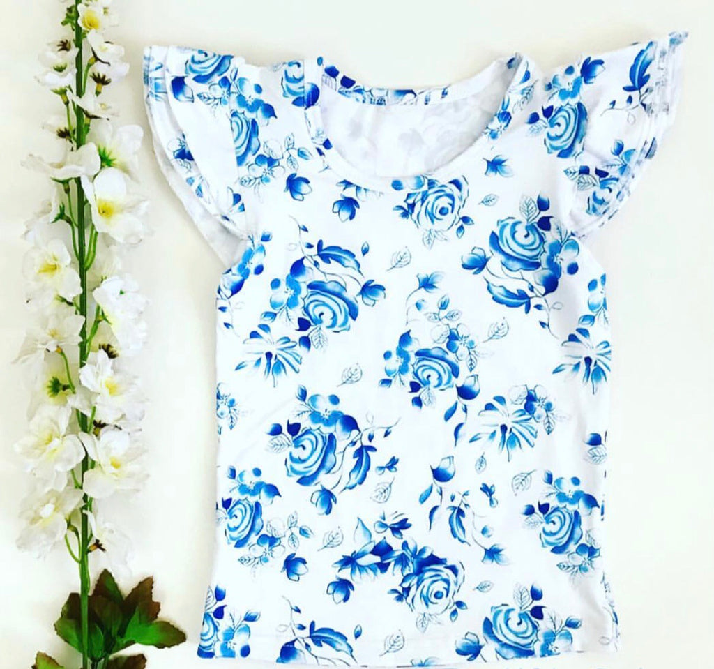 Flutter tee - Blue Rose