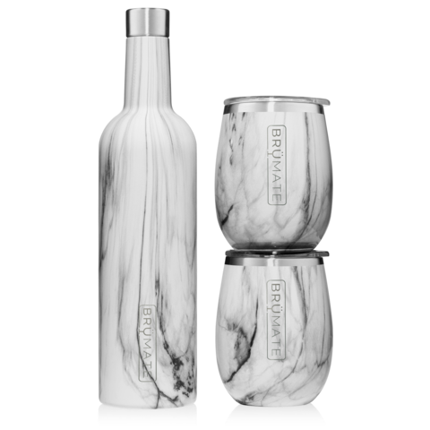 WINESULATOR + 2 UNCORK'D XL WINE TUMBLERS/LIDS | CARRARA